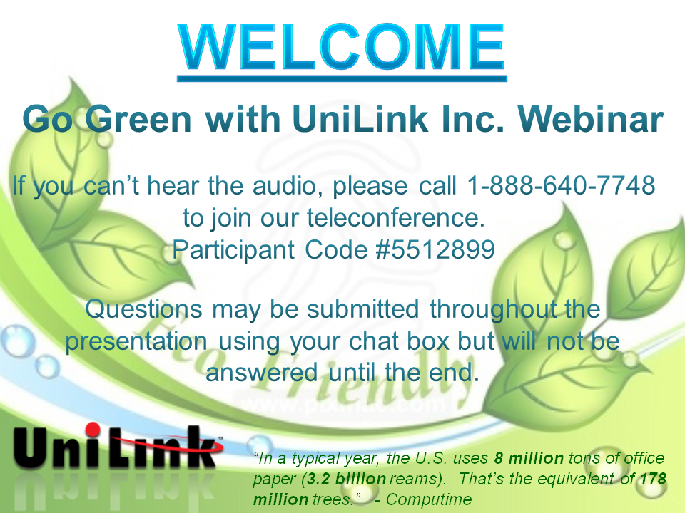 Go Green with UniLink Webinar